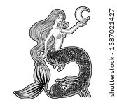 beautiful mermaid with the moon ... | Shutterstock .eps vector #1387021427