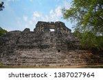 Maya Pyramid Of Becan Ruins ...