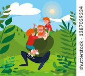 father with sons characters in... | Shutterstock .eps vector #1387039334