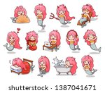 kawaii mermaids in various... | Shutterstock .eps vector #1387041671