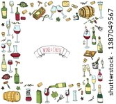 hand drawn wine tasting icons... | Shutterstock .eps vector #1387049567