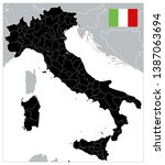black color italy map   no text ... | Shutterstock .eps vector #1387063694