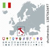 italy location on europe map  ... | Shutterstock .eps vector #1387063697