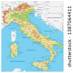 italy detailed physical map  ... | Shutterstock .eps vector #1387064411