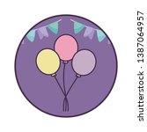 balloons helium with garlands... | Shutterstock .eps vector #1387064957
