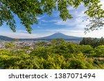 the city of fujiyoshida city... | Shutterstock . vector #1387071494