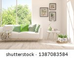 stylish room in white color... | Shutterstock . vector #1387083584