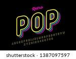 retro pop art style font ... | Shutterstock .eps vector #1387097597