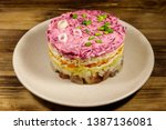 Stock photo traditional russian salad herring under a fur coat shuba on wooden table layered salad with 1387136081