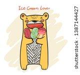 drawing cute yellow bear having ... | Shutterstock .eps vector #1387144427