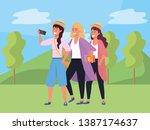 millennial group taking selfie... | Shutterstock .eps vector #1387174637