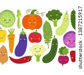cute eat veggies background... | Shutterstock .eps vector #1387215917