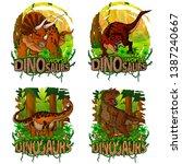 set of dinosaur world logos.... | Shutterstock .eps vector #1387240667