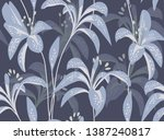 floral seamless pattern. lily... | Shutterstock .eps vector #1387240817