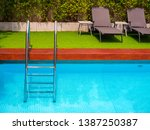 sunbeds on green grass and grab ... | Shutterstock . vector #1387250387