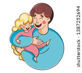father and daughter. a man... | Shutterstock .eps vector #1387252694