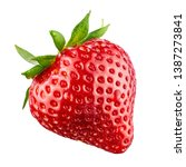 Small photo of Red berry strawberry isolated on white background. 100 percent sharpness.