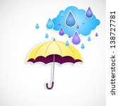 yellow umbrella and rain... | Shutterstock . vector #138727781