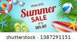 summer sale vector banner... | Shutterstock .eps vector #1387291151
