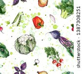 pattern of vegetables drawn... | Shutterstock . vector #1387308251