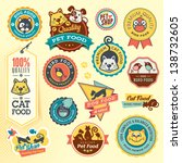 Set of animal labels and stickers - stock vector