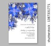 navy blue poinsettia merry... | Shutterstock .eps vector #1387331771