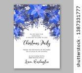 navy blue poinsettia merry... | Shutterstock .eps vector #1387331777
