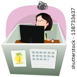 life in the cube   woman ... | Shutterstock .eps vector #138733637