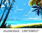 heavenly place landscape vector ... | Shutterstock .eps vector #1387338017