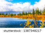autumn forest river panorama... | Shutterstock . vector #1387348217