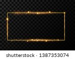 golden frame with lights... | Shutterstock .eps vector #1387353074