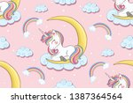 cute unicorn with moon and...   Shutterstock .eps vector #1387364564