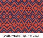 ikat seamless pattern. vector...   Shutterstock .eps vector #1387417361