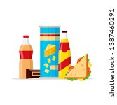 snack product set  fast food... | Shutterstock . vector #1387460291