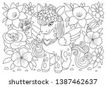 unicorns vector. coloring book... | Shutterstock .eps vector #1387462637
