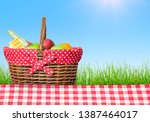 picnic table covered with... | Shutterstock . vector #1387464017