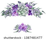 watercolor floral frames with... | Shutterstock . vector #1387481477