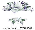 watercolor floral frames with... | Shutterstock . vector #1387481501