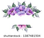 watercolor floral frames with... | Shutterstock . vector #1387481504