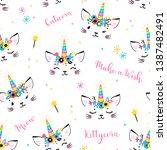 cute unicorn cat head with...   Shutterstock .eps vector #1387482491