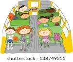 kids on school bus | Shutterstock .eps vector #138749255