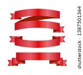 red ribbons set. vector design... | Shutterstock .eps vector #1387501364