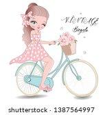 cute beauty girl woman vintage... | Shutterstock .eps vector #1387564997