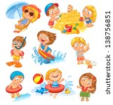 summer vacation. cute little... | Shutterstock .eps vector #138756851
