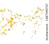 gold yellow on white glossy... | Shutterstock .eps vector #1387590737