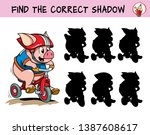 funny little pigs riding bikes. ... | Shutterstock .eps vector #1387608617