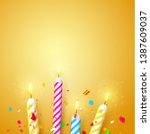 colorful sparkling candles on... | Shutterstock .eps vector #1387609037