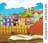 cartoon scene of construction... | Shutterstock . vector #1387631381