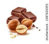 realistic chocolate pieces with ... | Shutterstock .eps vector #1387633391