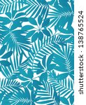 tropical leaves aqua blue | Shutterstock .eps vector #138765524